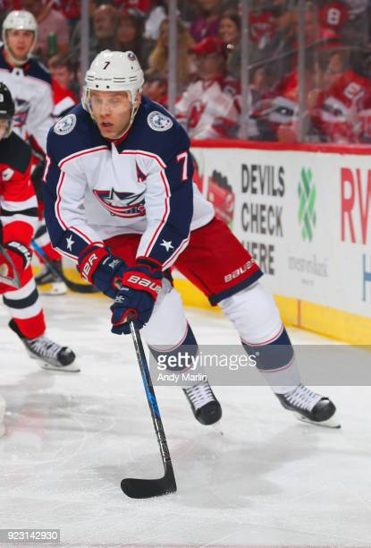 Jack Johnson of the Columbus Blue Jackets plays the puck during the game against the New Jersey Devils at Prudential Center on February 20 2018 in...