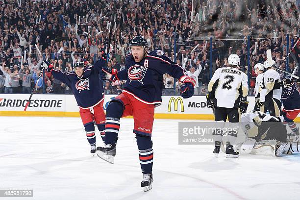 Jack Johnson of the Columbus Blue Jackets reacts after scoring a goal during the first period in Game Three of the First Round of the 2014 Stanley...