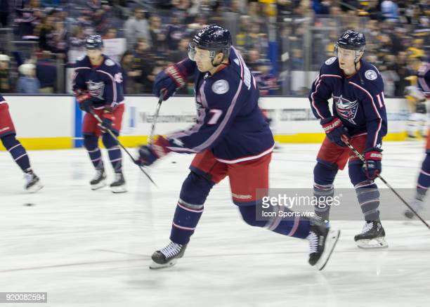 Jack Johnson of the Columbus Blue Jackets taking a shot during warms up before the game between the Columbus Blue Jackets and the Pittsburgh Penguins...