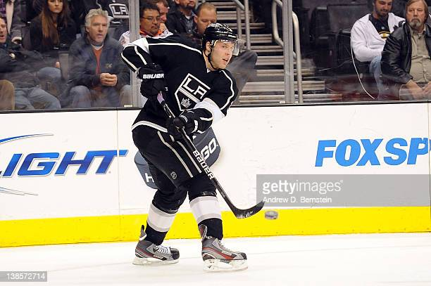 Jack Johnson of the Los Angeles Kings passes the puck against the Columbus Blue Jackets at Staples Center on February 1, 2012 in Los Angeles,...