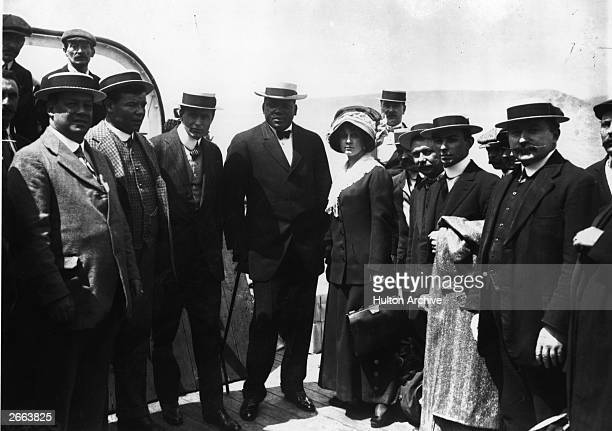 Jack Johnson of the USA on board a ship One of the greatest yet most unpopular Heavyweight boxers of all time in 1908 he took the world title from...