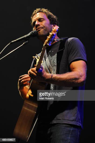 Jack Johnson performs live for fans at the 2014 Byron Bay Bluesfest on April 18 2014 in Byron Bay Australia