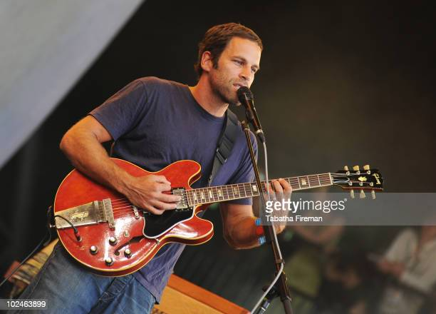Jack Johnson performs on the Pyramid stage on the last day of Glastonbury Festival at Worthy Farm on June 27, 2010 in Glastonbury, England.