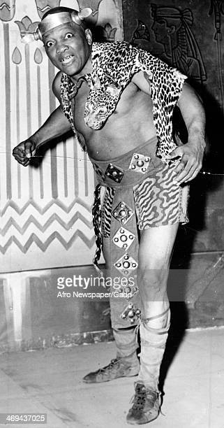 Jack Johnson professional boxer in costume for his role in the play Aida at the Hippodrome Opera Company New York New York 1936