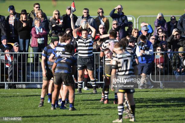 Jack Jones of Christ's College prepares to throw a lineout during the First XV Rugby match between Christchurch Boys' High Shool and Christ's College...