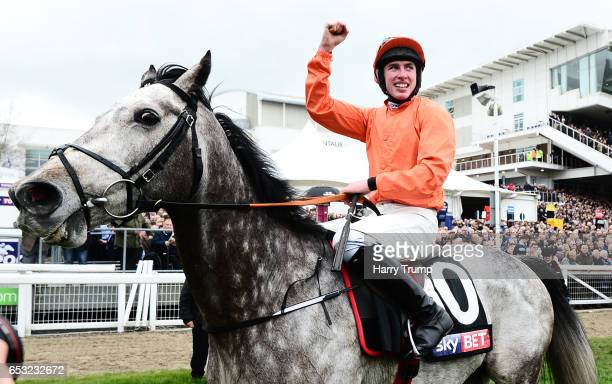 Jack Kennedy on board Labaik celebrates after winning the Sky Bet Supreme Novices Hurdle during Champion Day of the Cheltenham Festival at Cheltenham...