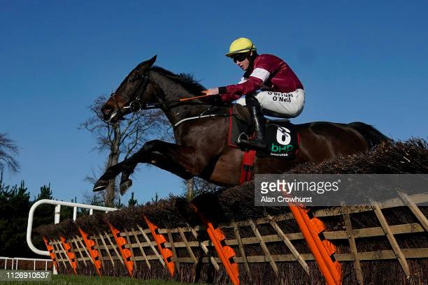 Jack Kennedy riding Apple's Jade clear the last to win The BHP Insurance Irish Champion Hurdle at Leopardstown Racecourse on February 02 2019 in...