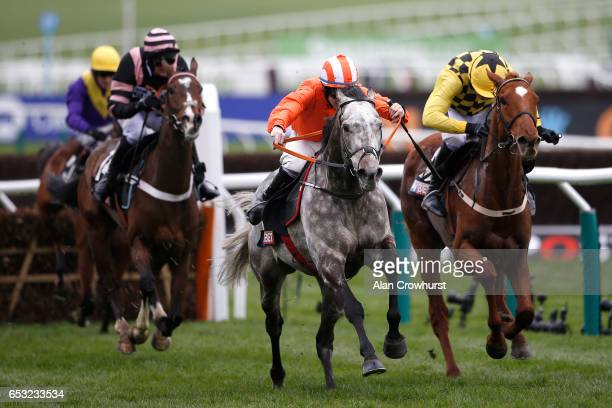 Jack Kennedy riding Labaik clear the last to win The Sky Bet Supreme Novices' Hurdle Race from Melon at Cheltenham racecourse on day one of the...