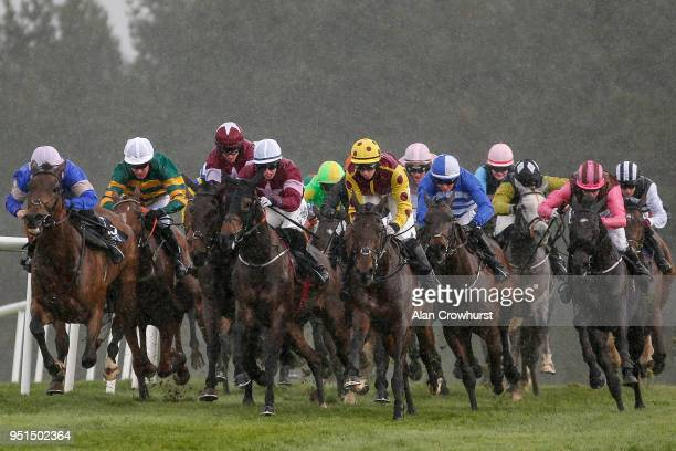 Jack Kennedy riding Park Paddocks win The JLT Handicap Hurdle at Punchestown racecourse on April 26 2018 in Naas Ireland