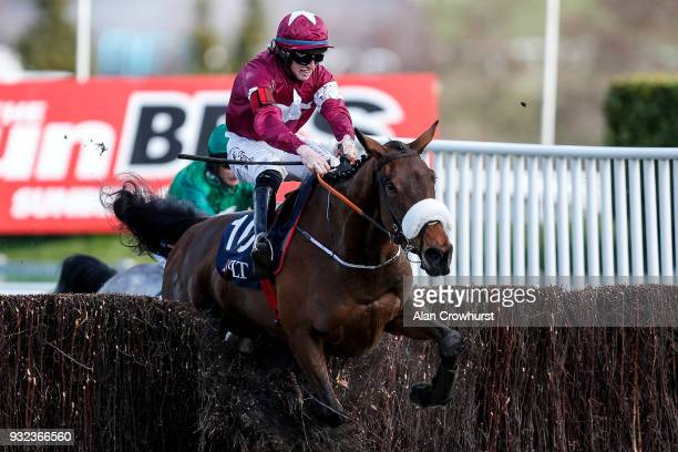 Jack Kennedy riding Shattered Love clear the last to win The JLT Novicesâ Steeple Chase at Cheltenham racecourse on St Patrick's Thursday on March 15...