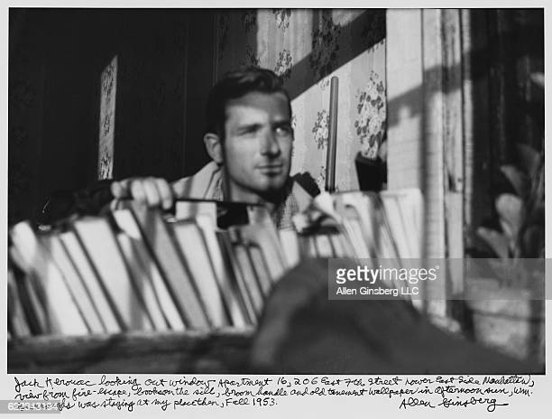 Jack Kerouac looking out apartment window in New York City in 1953 text written by Allen Ginsberg