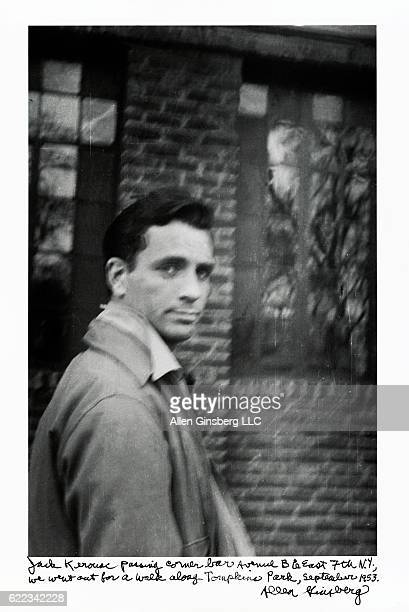 Jack Kerouac walking near Avenue B in New York City in September 1953 text written by Allen Ginsberg