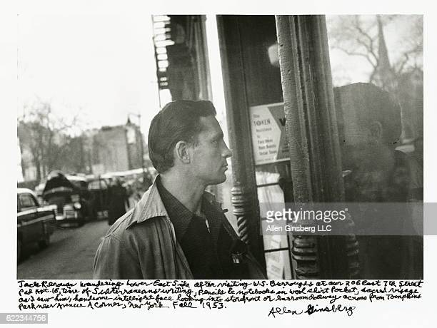 Jack Kerouac wandering Lower East Side in fall 1953 a young handsome intelligent man looking into storefront near Avenue A corner text written by...