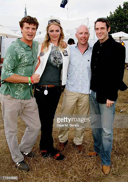 Jack Kidd Jodie Kidd Rick Stainton and Aiden Butler attend the Smyle and Kidd offical players party during the Cartier Polo Day at the Smyle Marquee...