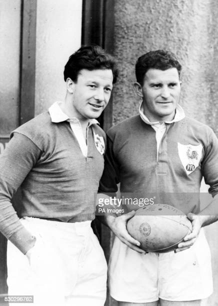 Jack Kyle Irish captain who has been capped 27 times with french captain Jean Pratt before the international rugby match at the Ravenshill ground...