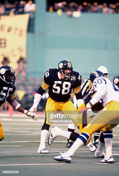 Jack Lambert of the Pittsburgh Steelers in action against the San Diego Chargers during the AFC Wild Card game January 9 1983 at Three Rivers Stadium...