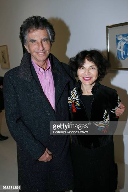 Jack Lang and his wife Monique attend the Chagall Lissitzky Malevitch L'Avantgarde Russe a Vitebsk 19181922 Press Preview at Centre Pompidou on March...