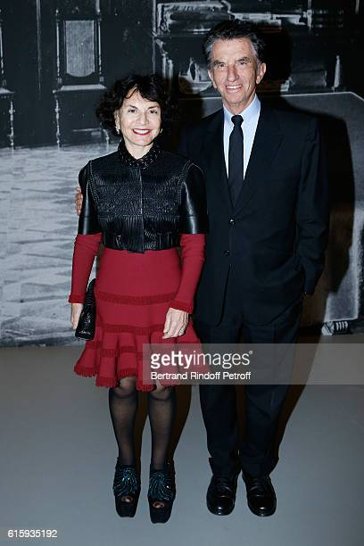 Jack Lang and his wife Monique attend the Icones de l'Art Moderne La Collection Chtchoukine Cocktail at Fondation Louis Vuitton on October 20 2016 in...