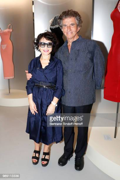 Jack lang and his wife Monique dressed in Alaia attend L'Alchimie secrete d'une collection The Secret Alchemy of a Collection Exhibition Preview at...