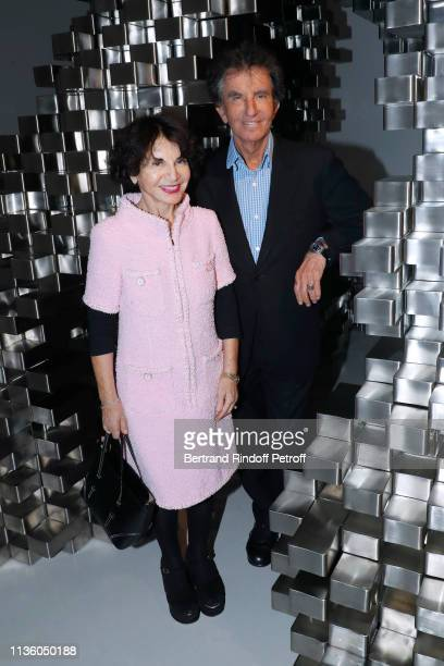 Jack Lang and his wife Monique Lang attend the JeanMichel Othoniel Oracle Exhibition Preview at Gallery Perrotin on March 15 2019 in Paris France