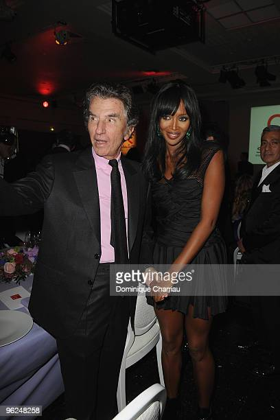 Jack Lang and Naomi Campbell attend Fashion Dinner For AIDS at Pavillon d'Armenonville on January 28 2010 in Paris France