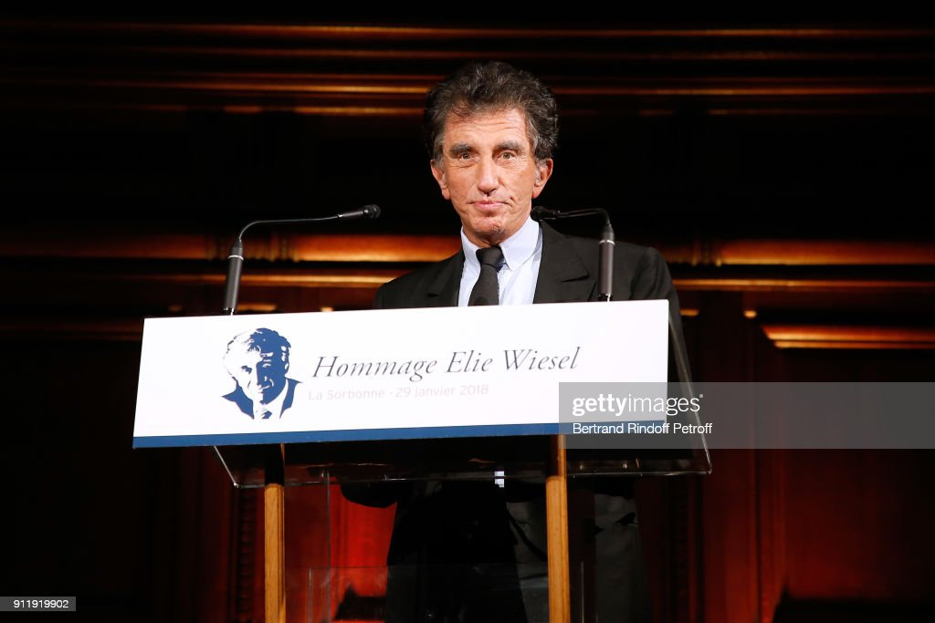 Jack Lang attends the Tribute to ELie Wiesel by Maurice Levy X Publicis Group at 'La Sorbonne' on January 29, 2018 in Paris, France.