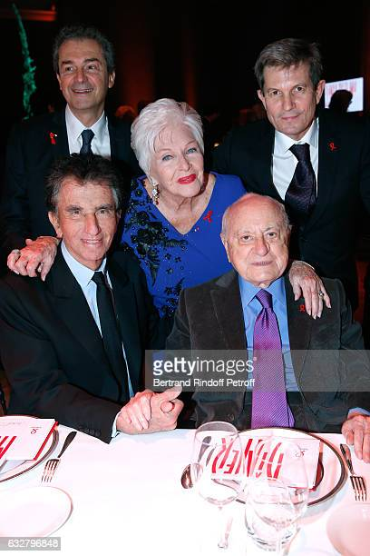 Jack Lang guest Line Renaud Pierre Berge and professor Yves Levy attend the Sidaction Gala Dinner 2017 Haute Couture Spring Summer 2017 show as part...