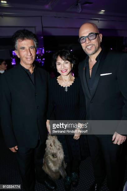 Jack Lang his wife Monique and Pascal Obispo attend the 16th Sidaction as part of Paris Fashion Week on January 25 2018 in Paris France