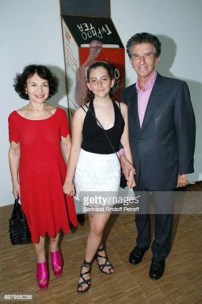 Jack Lang his wife Monique Lang and their Granddaughter attend the David Hockney 'Retrospective' Exhibition at Centre Pompidou on June 19 2017 in...