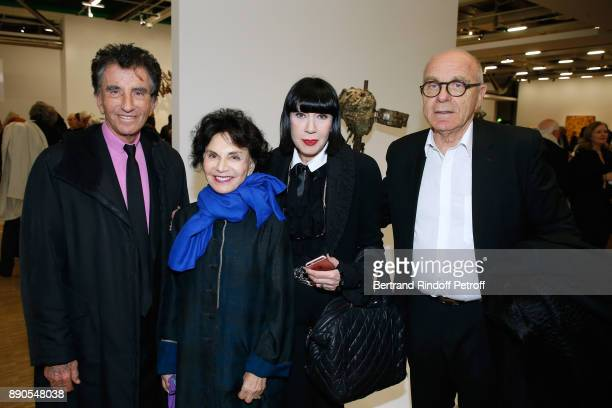 Jack Lang his wife Monique Lang Chantal Thomass and her husband Michel Fabian attend the Cesar Retrospective at Centre Pompidou on December 11 2017...