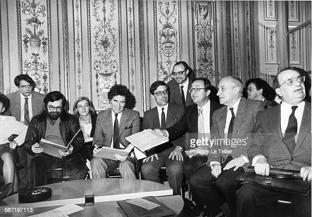 Jack Lang team Minister of Culture in his office of the Ministry of Culture in Paris France