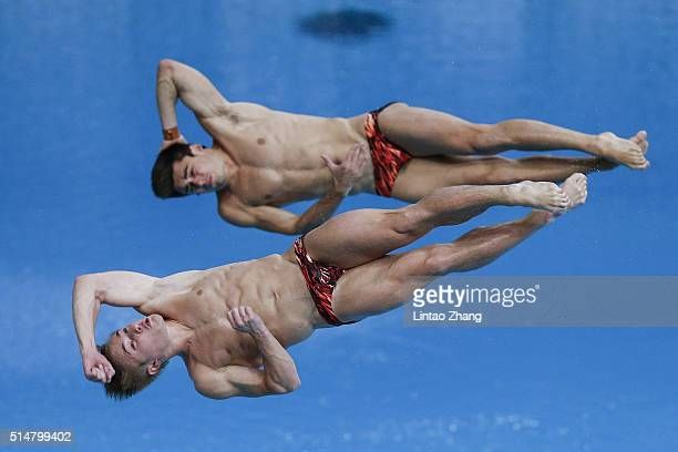 Jack Laugher and Chris Mears of Great Bristh compete in the Men's 3m Synchro Springboard Final during day one of the FINA/NVC Diving World Series...