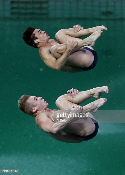 Jack Laugher and Chris Mears of Great Britain compete in the Men's Diving Synchronised 3m Springboard Final on Day 5 of the Rio 2016 Olympic Games at...