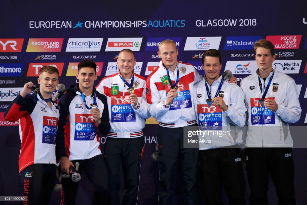 Jack Laugher and Christopher Mears of Great Britain (silver), Evgenii Kuznetsov and Ilia Zakharov of Russia (gold) and Patrick Hausding and Lars Ruediger of Germany (bronze) pose for a photo with their medals after the Men's 3m Springboard Final on Day Nine of the European Championships Glasgow 2018 at Royal Commonwealth Pool on August 10, 2018 in Edinburgh, Scotland. This event forms part of the first multi-sport European Championships.