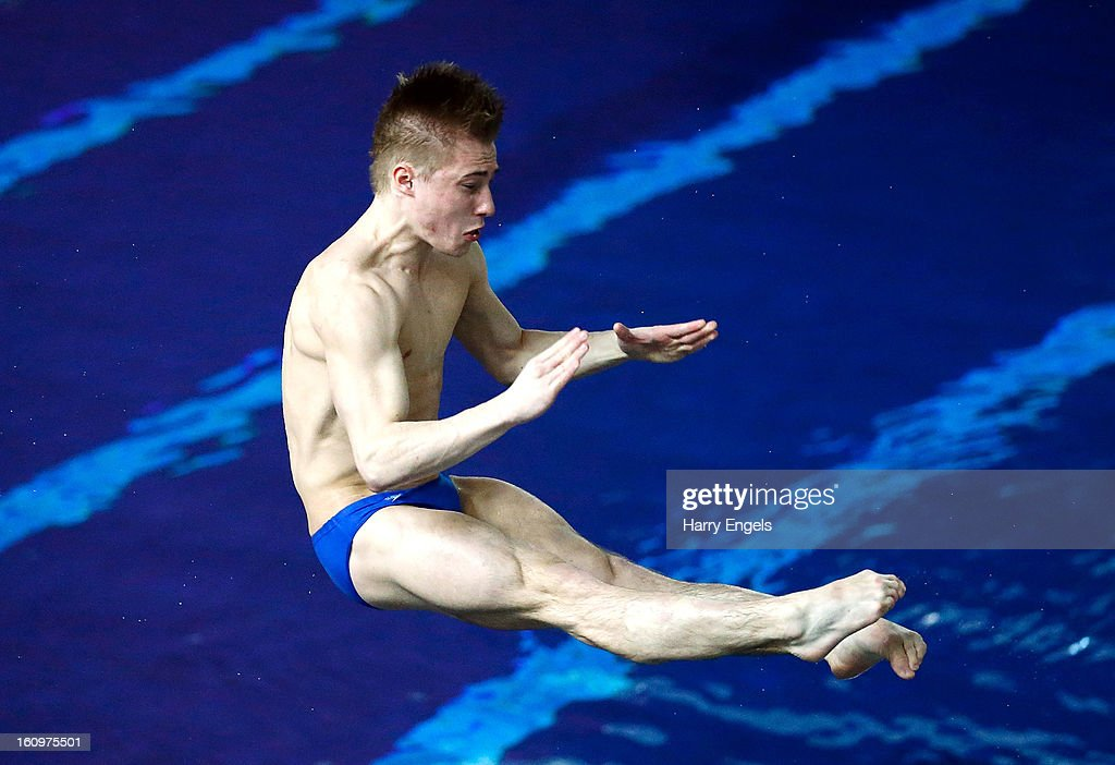 Jack Laugher competes in the Men's 1m final on day 1 of the British Gas Diving Championships on February 8, 2013 in Plymouth, England.