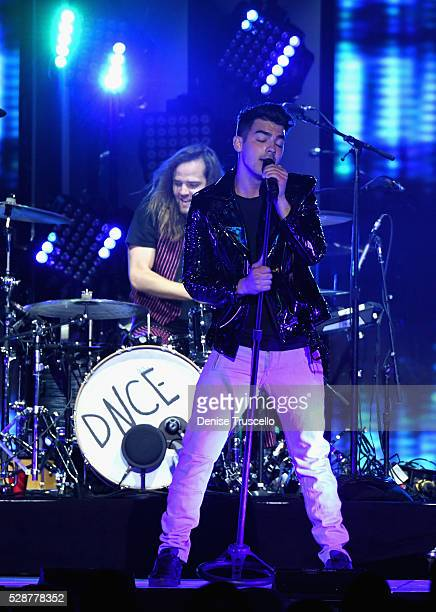 Jack Lawless and singer Joe Jonas of DNCE perform during opening night of the Selena Gomez 'Revival World Tour' at the Mandalay Bay Events Center on...