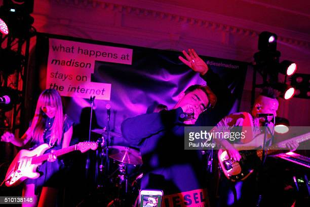 Jack Lawless JinJoo Joe Jonas and Cole Whittle of DNCE attend the after party celebrating DIESEL's Madison Avenue flagship on February 13 2016 in New...