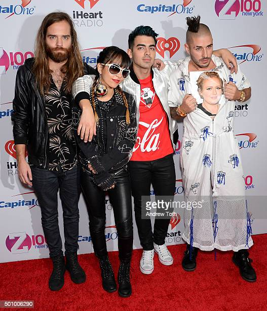 Jack Lawless JinJoo Joe Jonas and Cole Whittle of DNCE attend Z100's iHeartRadio Jingle Ball 2015 arrivals at Madison Square Garden on December 11...