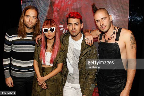 Jack Lawless JinJoo Joe Jonas Cole Whittle of DNCE attend the after party celebrating DIESEL's Madison Avenue flagship on February 13 2016 in New...