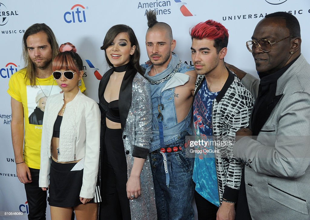 Jack Lawless, JinJoo Lee, Hailee Steinfeld, Cole Whittle, Joe Jonas and Randy Jackson arrive at Universal Music Group's 2016 GRAMMY After Party at The Theatre At The Ace Hotel on February 15, 2016 in Los Angeles, California.