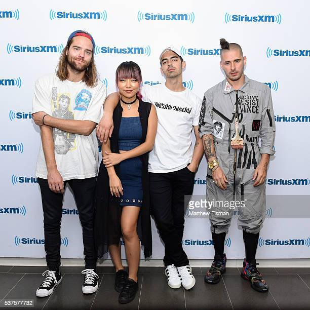 Jack Lawless JinJoo Lee Joe Jonas and Cole Whittle of the band DNCE visit at SiriusXM Studios on June 2 2016 in New York City