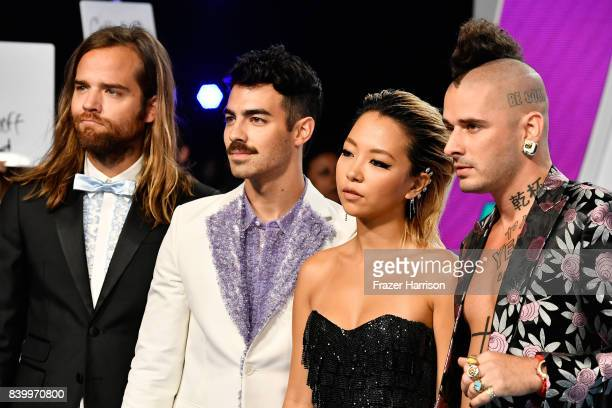 Jack Lawless Joe Jonas JinJoo Lee and Cole Whittle of DNCE attend the 2017 MTV Video Music Awards at The Forum on August 27 2017 in Inglewood...
