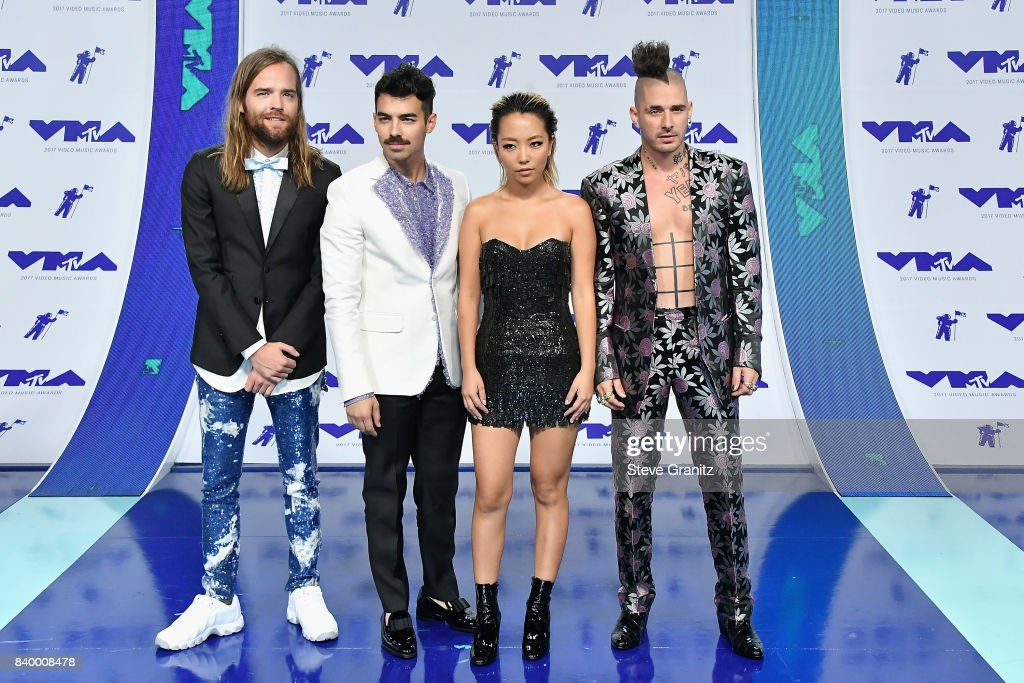 Jack Lawless, Joe Jonas, JinJoo Lee and Cole Whittle of DNCE attend the 2017 MTV Video Music Awards at The Forum on August 27, 2017 in Inglewood, California.