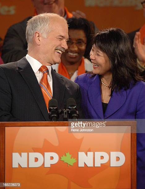 ELXN Jack Layton and Olivia Chow arrive to supporters at the after party at the Government election night on Monday