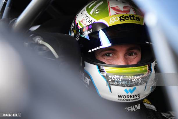 Jack Le Brocq driver of the Tekno Autosports Holden Commodore ZB looks on prior to race 20 of the Supercars Ipswich SuperSprint on July 22 2018 in...