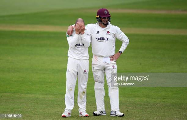 Jack Leach and Marcus Trescothick of Somerset reacts to a chance during Day Four of the Specsavers County Championship match between Somerset and...