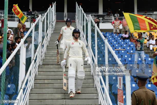 Jack Leach and Rory Burns of England come out to bat during the 2nd Cricket Test Match between Sri Lanka and England at Pallekele Cricket Stadium on...