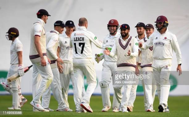 Jack Leach and Somerset celebrate the wicket of Rory Burns of Surrey during Day Three of the Specsavers County Championship match between Somerset...