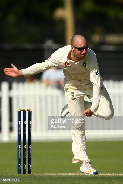 Jack Leach of England bowls during the Two Day tour match between the Cricket Australia CA XI and England at Richardson Park on December 10 2017 in...