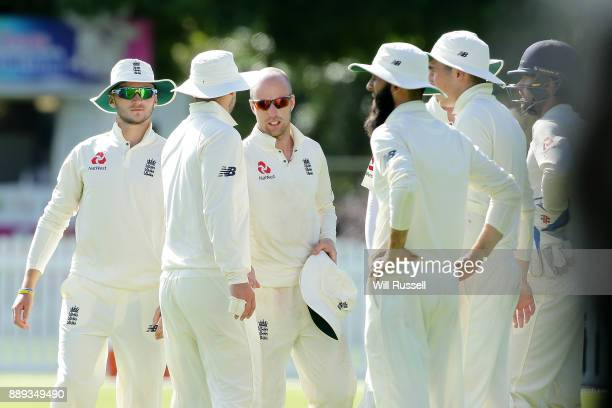 Jack Leach of England celebrates after taking the wicket of Josh Philippe of the Cricket Australia XI during the Two Day tour match between the...